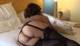 Older ASIAN WIFE IN BLACK LINGERIE