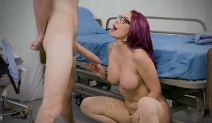 A whore with a nice rack is getting fucked deeply in her wet pussy