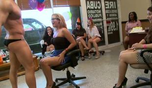 Birthday party stripper bonks one of the slutty amateur girls