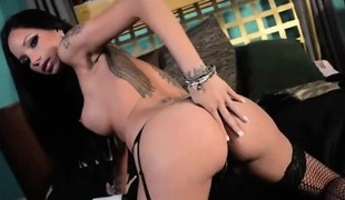 Raven Bay stockings masturbation