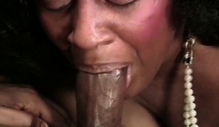Stacked black housewife in stockings enjoys her time with a dark stud