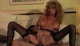 Luscious older housewife in stockings gets double screwed on the bed