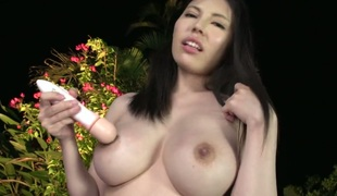 With juicy jugs proves that her body is just perfect after stripping in nature's garb