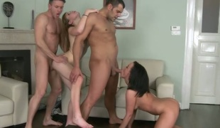 Awesome foursome video featuring hottie Alexis Crystal