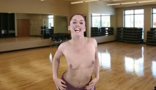 Workout video with a sexy striptease from the chick