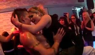 Male strippers entertain horny club girls