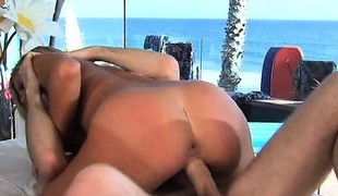 Pretty blonde cocksucker gets her hairless slit drilled in a room with a view of the sea