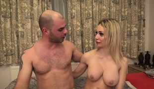 Blonde slut with big hooters Chessie Kay gets nailed hard by two guys