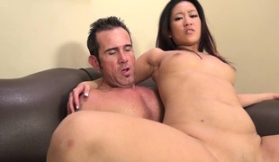 Exotic beauty Silky Amber takes a throbbing pole for an exciting ride