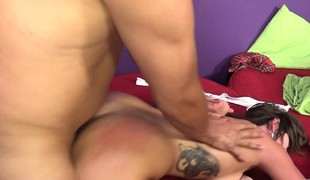 2 delightful brunettes getting drilled unfathomable side by side on the bed
