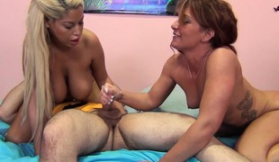 Sultry babes Bridgette B and Savannah Fox wildly fucking a large stick
