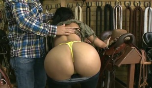 Natasha shows her huge mambos and her bubble butt to the shop owner