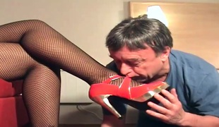 Thick swarthy mistress takes a licking from an old stud