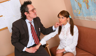 TrickyOldTeacher - Struggling student sucks cock of teacher and fucks untill she passes