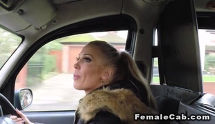Wet lesbos licking in female fake taxi