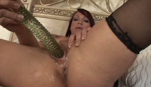 Nicki Hunter touches her bawdy cleft playfully
