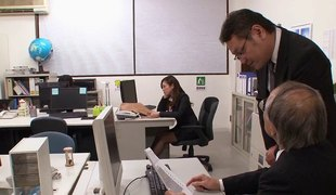 While staying late at the office this Japanese babe copulates her boss