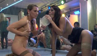 Vivacious brunette with big tits enjoying a fantastic gangbang