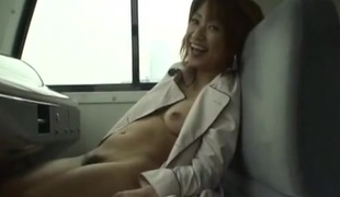 Public cocksucking and flashing Japanese chick