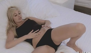 Lonely blonde day dreams of dicks while rubbing her pussy solo