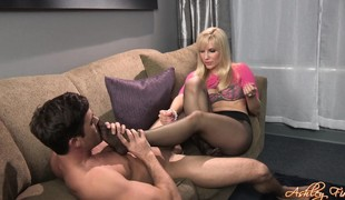 babe blonde handjob fetish nylon foot fetish