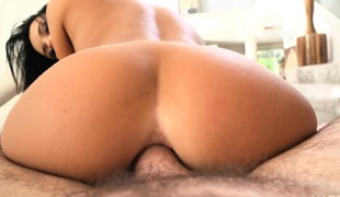 Provoking girl Megan Rain stuffs her fiery ass with hard meat in POV
