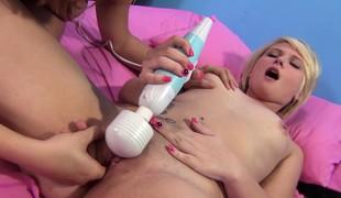 Slutty hotties enjoy intense orgasms with hard cocks and large vibrators