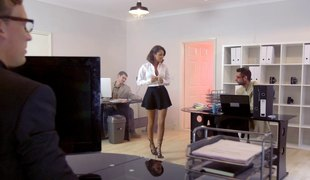 Chic in nylon stockings receive banged from behind getting her groan noisily in a reality shoot