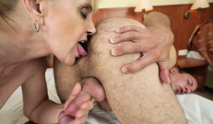Salacious blond granny Nanney enjoys anal sex with a hawt guy