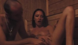 Charming young darling enjoys with her boyfriend in the sauna