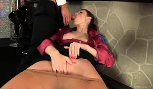 brunette babe hardcore blowjob fetish hd nylon