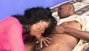 Large wazoo ebony cougar in pink lingerie goes wild for a huge darksome penis