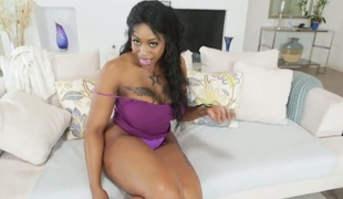 Ebony Victoria Cakes with bubbly ass feels intensive sexual while jerking stud off