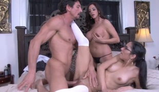 Tommy Gunn touches the hottest parts of delicious Ariella Ferreras body in advance of he bangs her mouth