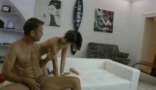 Rocco Siffredi receives enticed by Leda and then fucks her face hole after she takes it in her back porch