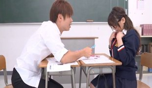 Ravishing Japanese uniform hotty in a pleated skirt gets laid