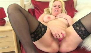 Breasty British milfs in stockings love dildoing