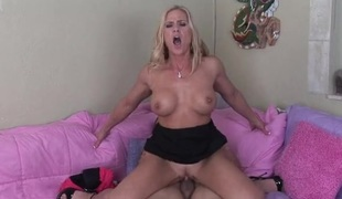 Fit and freckled milf babe fucks a young jock
