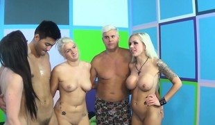 Three magnificent pornstars have a fun lesbian sex and please a lucky fan