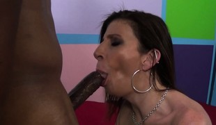 Lustful cougar with huge boobs Sara Jay acquires drilled by a darksome bull