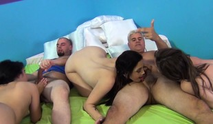 Four attractive babes have enjoyment with sex toys and have a fun two hard schlongs