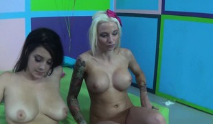 Blonde and brunette gals having fun with a sex toy and a raging dick