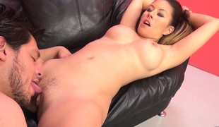 Lascivious babe with big round tits Nikko gets banged by David on the daybed