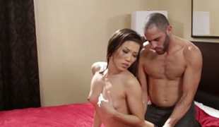 Petite Asian sex doll Kalina Ryu had stout fellatio with beefcake American guy in hotel room