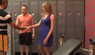 Lusty slut gets pounded really hard in the locker room