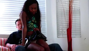 Lusty ebony slut receives her tight twat hammered with a white cock