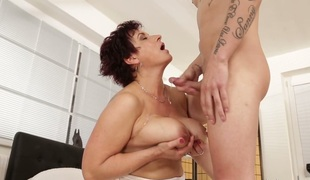 Compilation of mature whores receiving cumshots in their large boobs