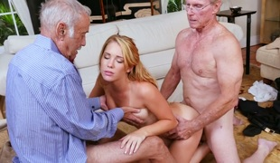 Breathtaking golden-haired bimbo Raylin Ann fucks three old farts