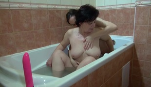 OldNanny Granny and sexy girl masturbate in the washroom