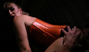 Sexy MILF in pants blows and gives titjob in advance of getting shoved cowgirl style